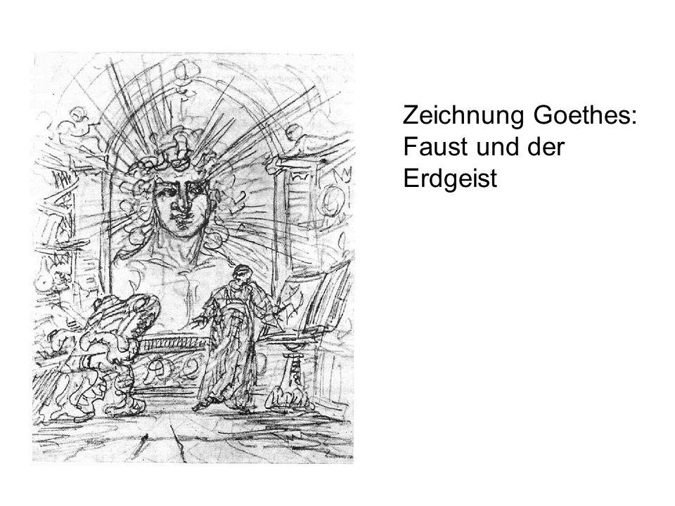 Zeichnung Goethes: Faust und der Erdgeist