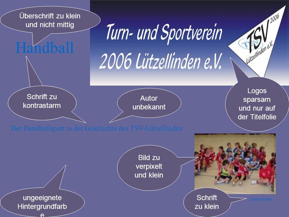 Handball Überschrift zu klein und nicht mittig