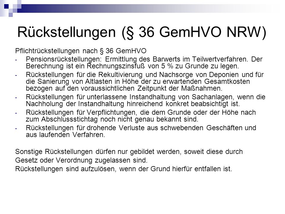 Rückstellungen (§ 36 GemHVO NRW)