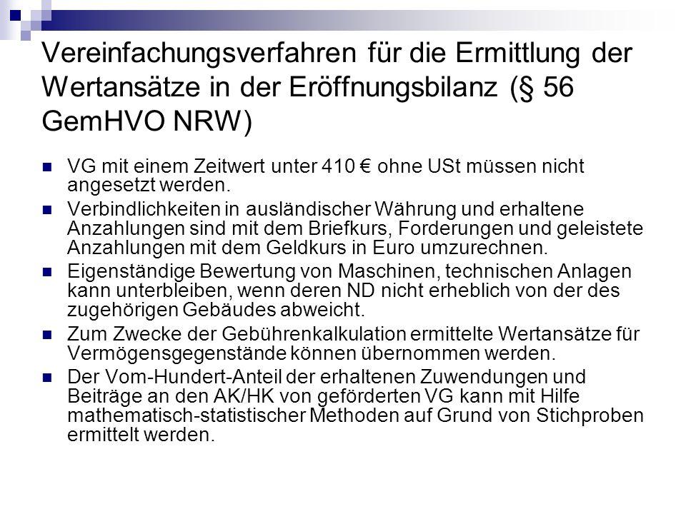 Vereinfachungsverfahren für die Ermittlung der Wertansätze in der Eröffnungsbilanz (§ 56 GemHVO NRW)