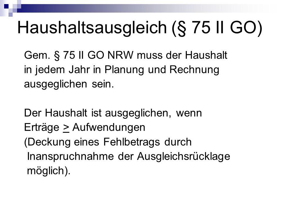Haushaltsausgleich (§ 75 II GO)