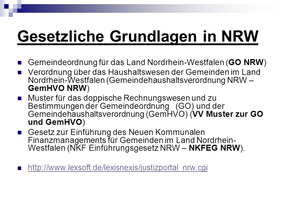 Gesetzliche Grundlagen in NRW