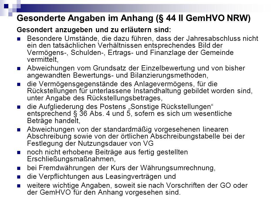 Gesonderte Angaben im Anhang (§ 44 II GemHVO NRW)