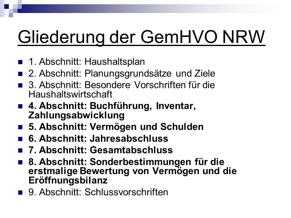 Gliederung der GemHVO NRW