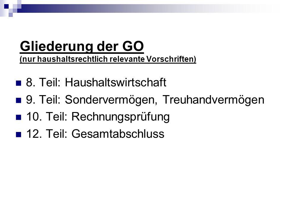 Gliederung der GO (nur haushaltsrechtlich relevante Vorschriften)