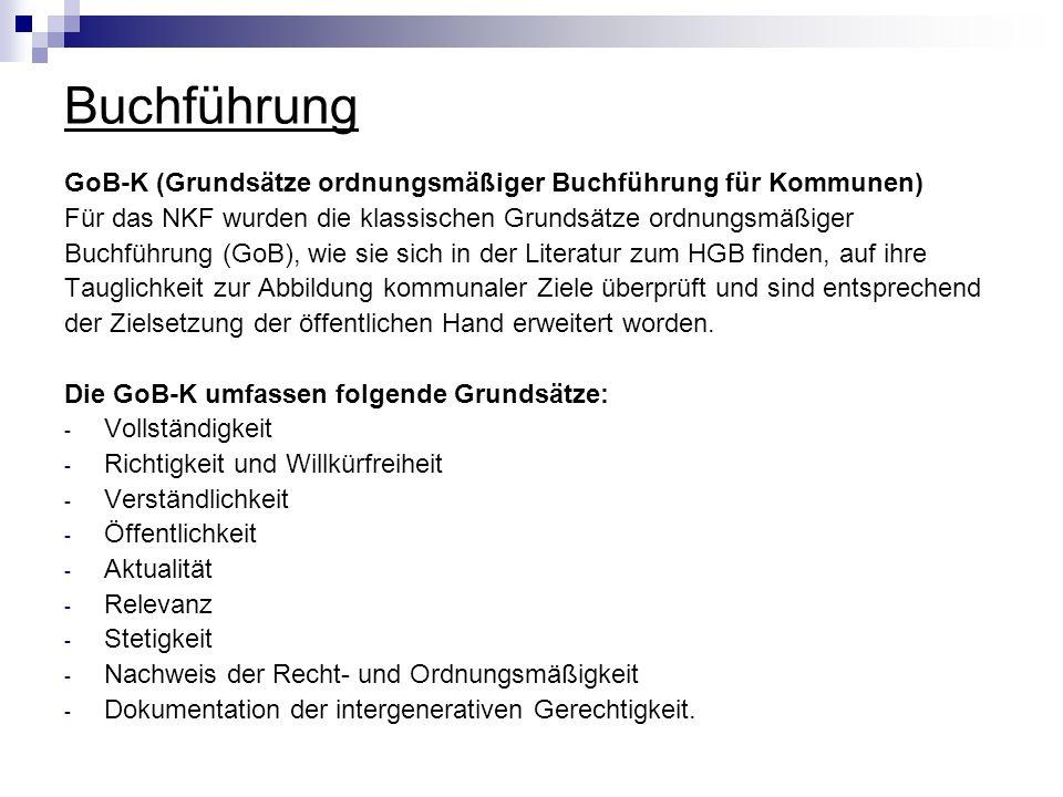 Buchführung GoB-K (Grundsätze ordnungsmäßiger Buchführung für Kommunen) Für das NKF wurden die klassischen Grundsätze ordnungsmäßiger.