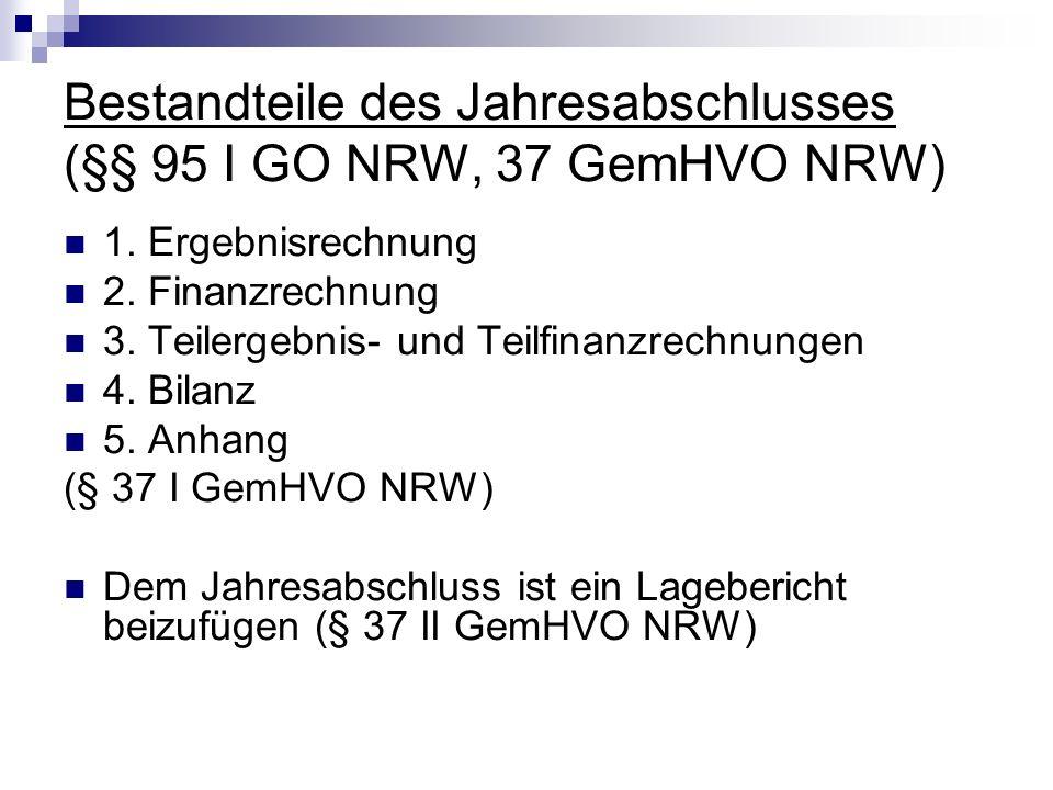 Bestandteile des Jahresabschlusses (§§ 95 I GO NRW, 37 GemHVO NRW)