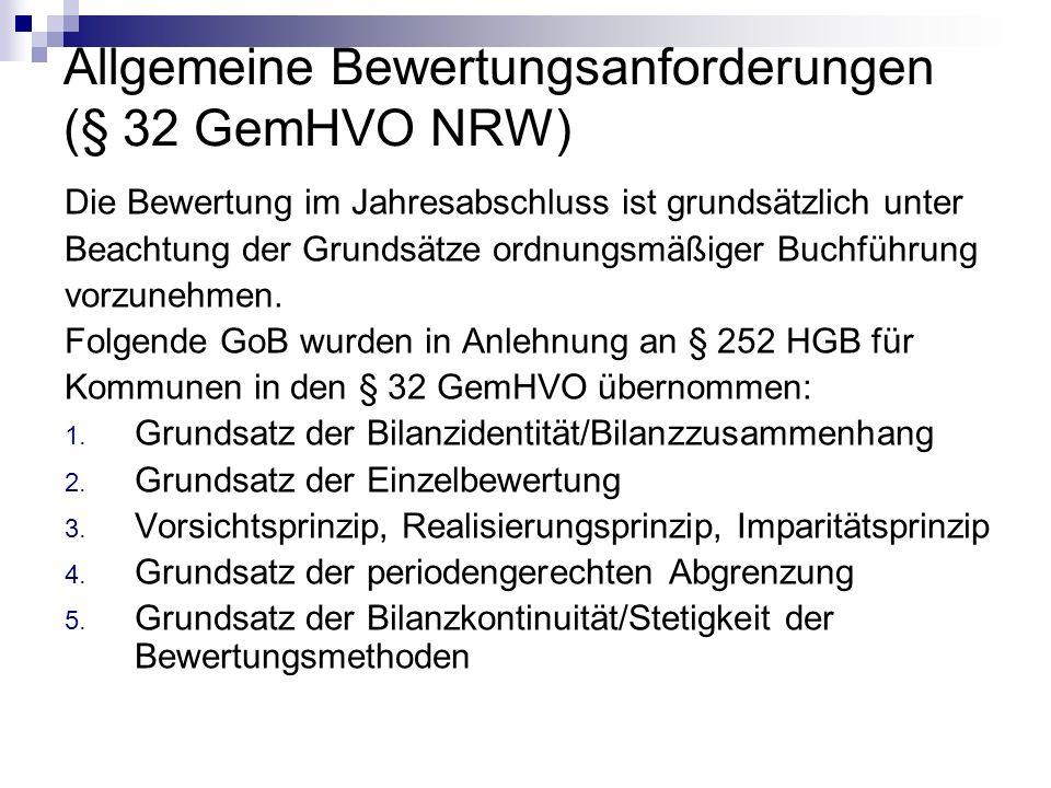 Allgemeine Bewertungsanforderungen (§ 32 GemHVO NRW)