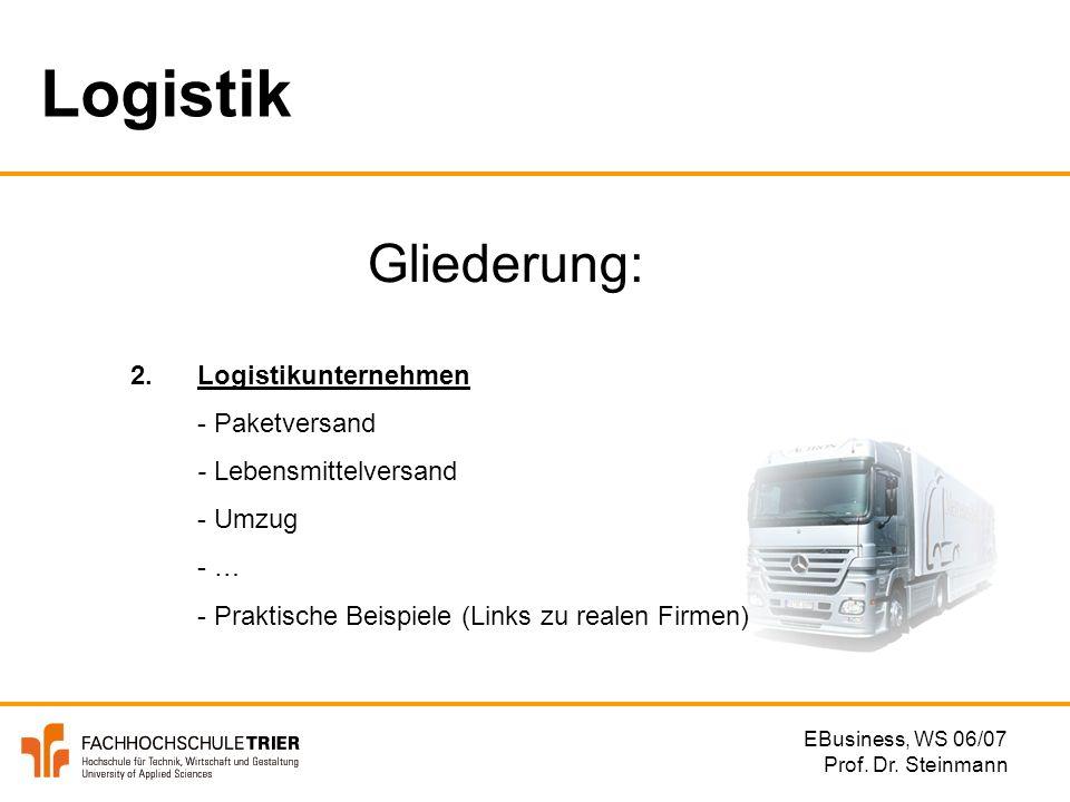 Logistik Gliederung: 2. Logistikunternehmen - Paketversand