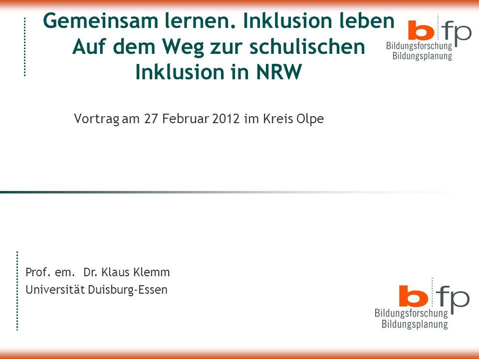 Vortrag am 27 Februar 2012 im Kreis Olpe