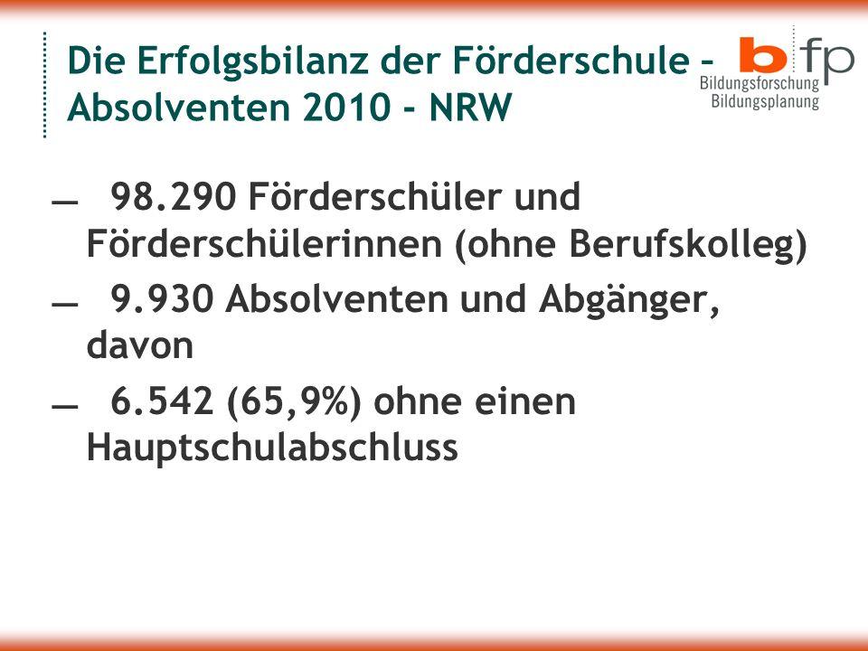 Die Erfolgsbilanz der Förderschule – Absolventen 2010 - NRW