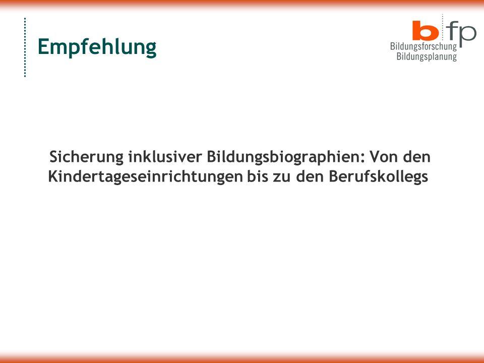 Empfehlung Sicherung inklusiver Bildungsbiographien: Von den Kindertageseinrichtungen bis zu den Berufskollegs.