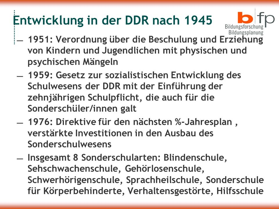 Entwicklung in der DDR nach 1945