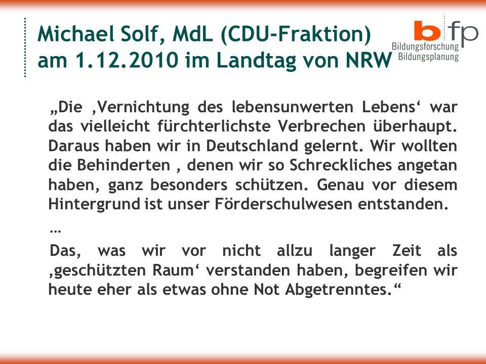 Michael Solf, MdL (CDU-Fraktion) am 1.12.2010 im Landtag von NRW
