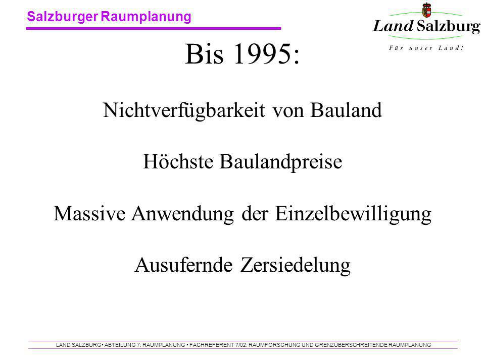 Bis 1995: Nichtverfügbarkeit von Bauland Höchste Baulandpreise Massive Anwendung der Einzelbewilligung Ausufernde Zersiedelung