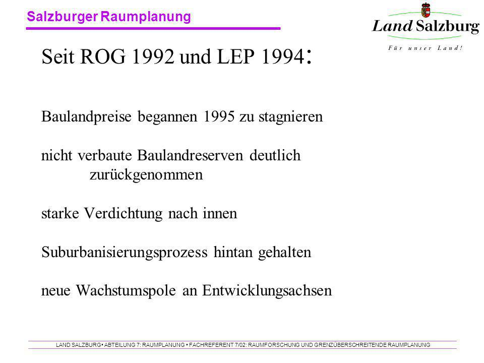 Seit ROG 1992 und LEP 1994: Baulandpreise begannen 1995 zu stagnieren nicht verbaute Baulandreserven deutlich zurückgenommen starke Verdichtung nach innen Suburbanisierungsprozess hintan gehalten neue Wachstumspole an Entwicklungsachsen