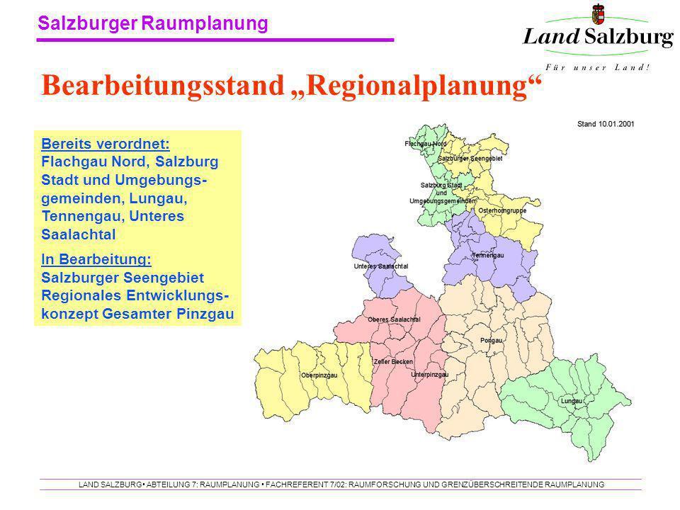 """Bearbeitungsstand """"Regionalplanung"""