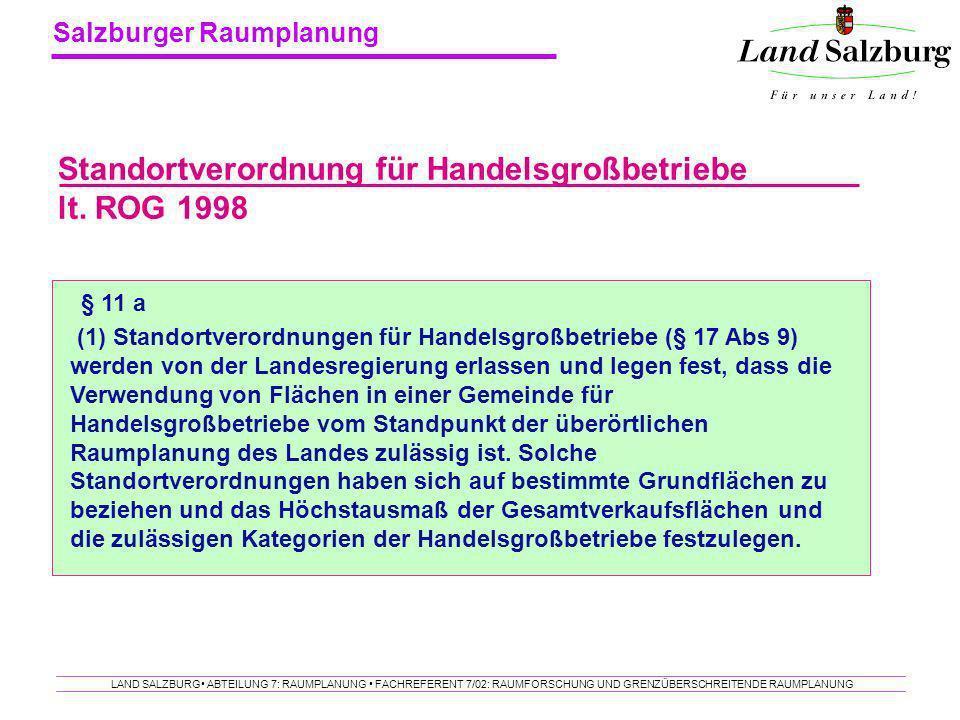 Standortverordnung für Handelsgroßbetriebe lt. ROG 1998