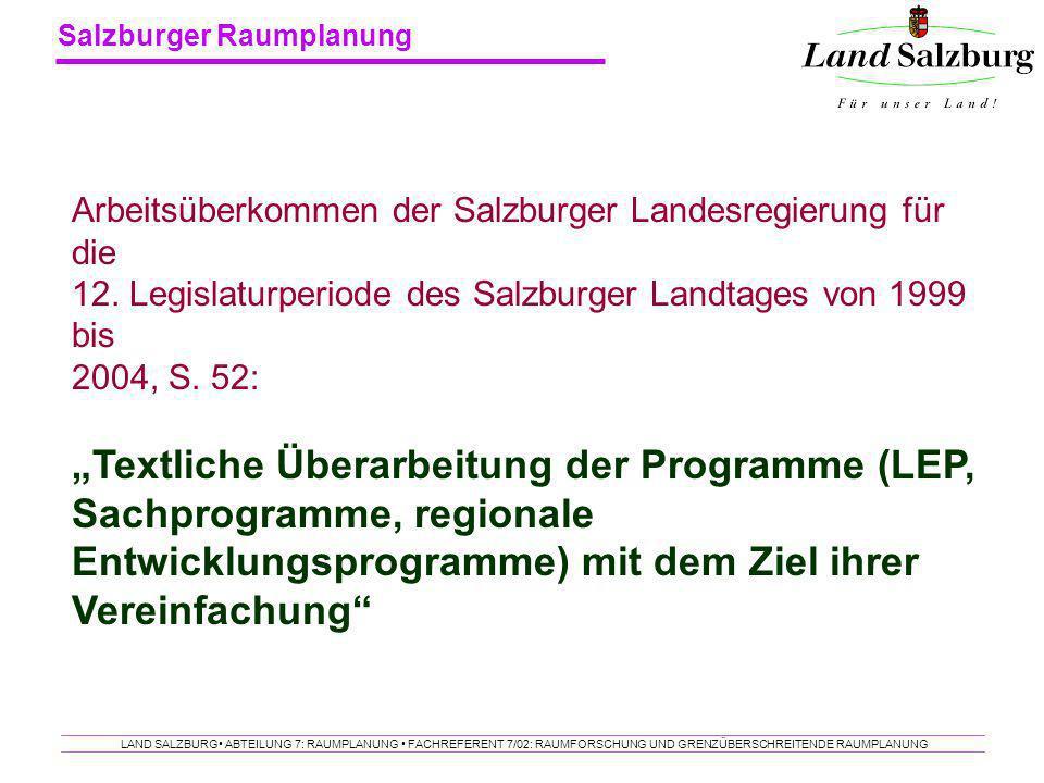 Arbeitsüberkommen der Salzburger Landesregierung für die 12