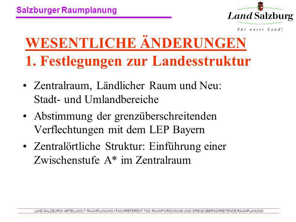WESENTLICHE ÄNDERUNGEN 1. Festlegungen zur Landesstruktur