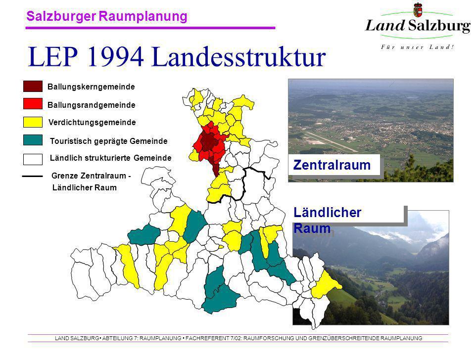LEP 1994 Landesstruktur Zentralraum Ländlicher Raum