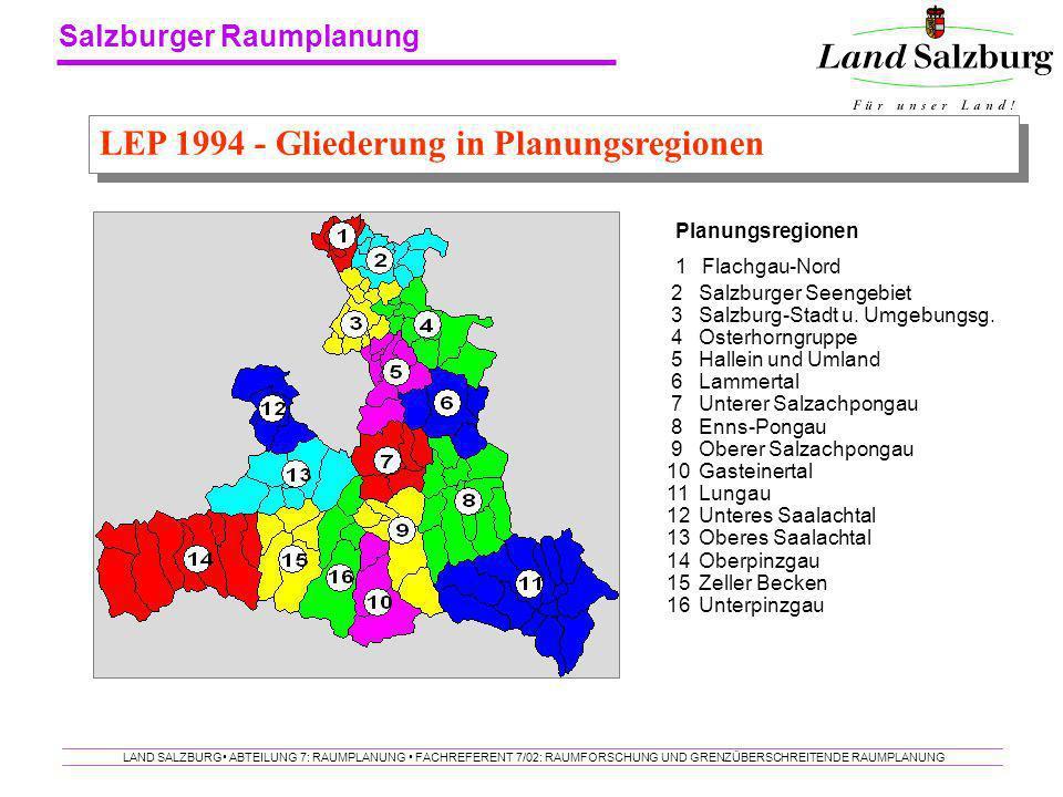 LEP 1994 - Gliederung in Planungsregionen