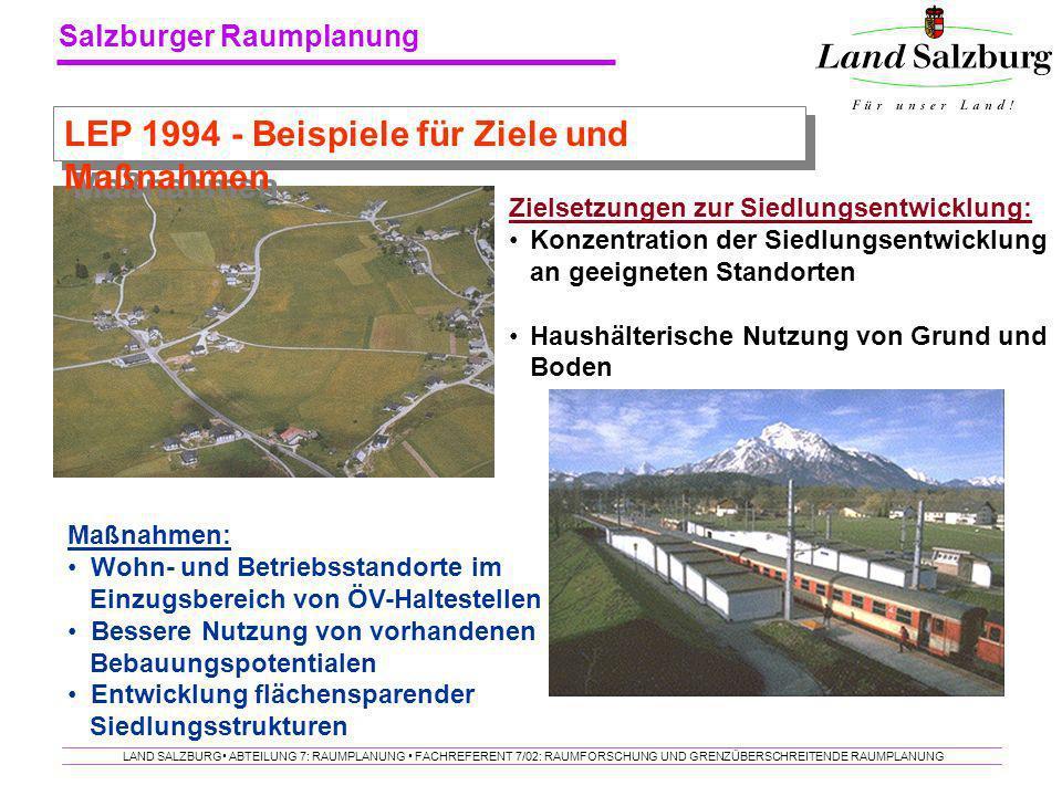 LEP 1994 - Beispiele für Ziele und Maßnahmen