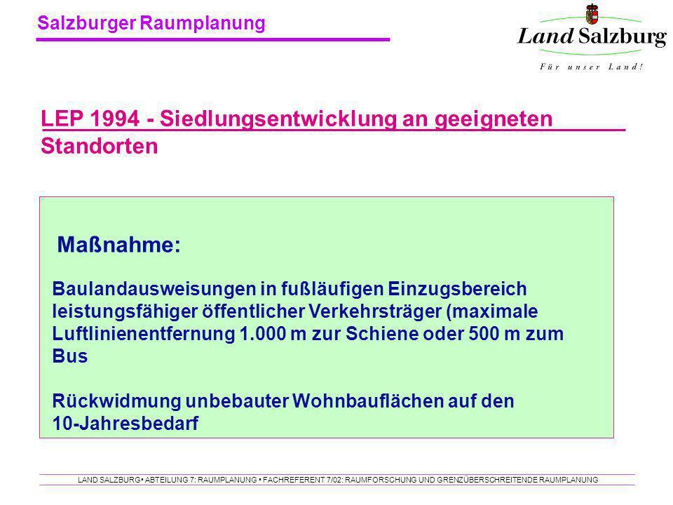 LEP 1994 - Siedlungsentwicklung an geeigneten Standorten