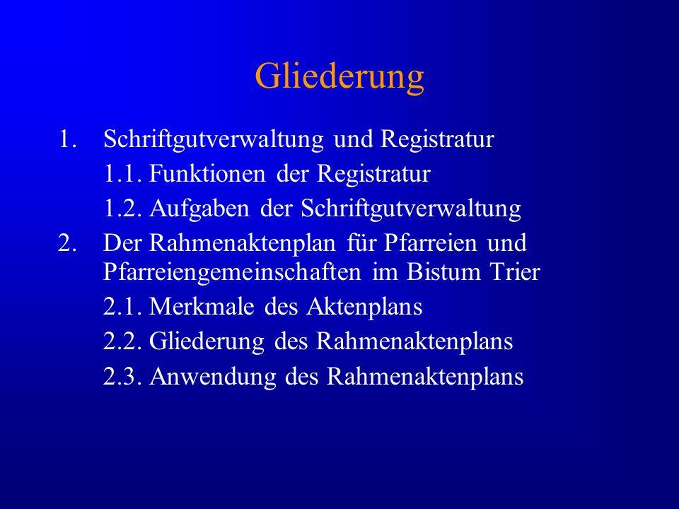 Gliederung Schriftgutverwaltung und Registratur