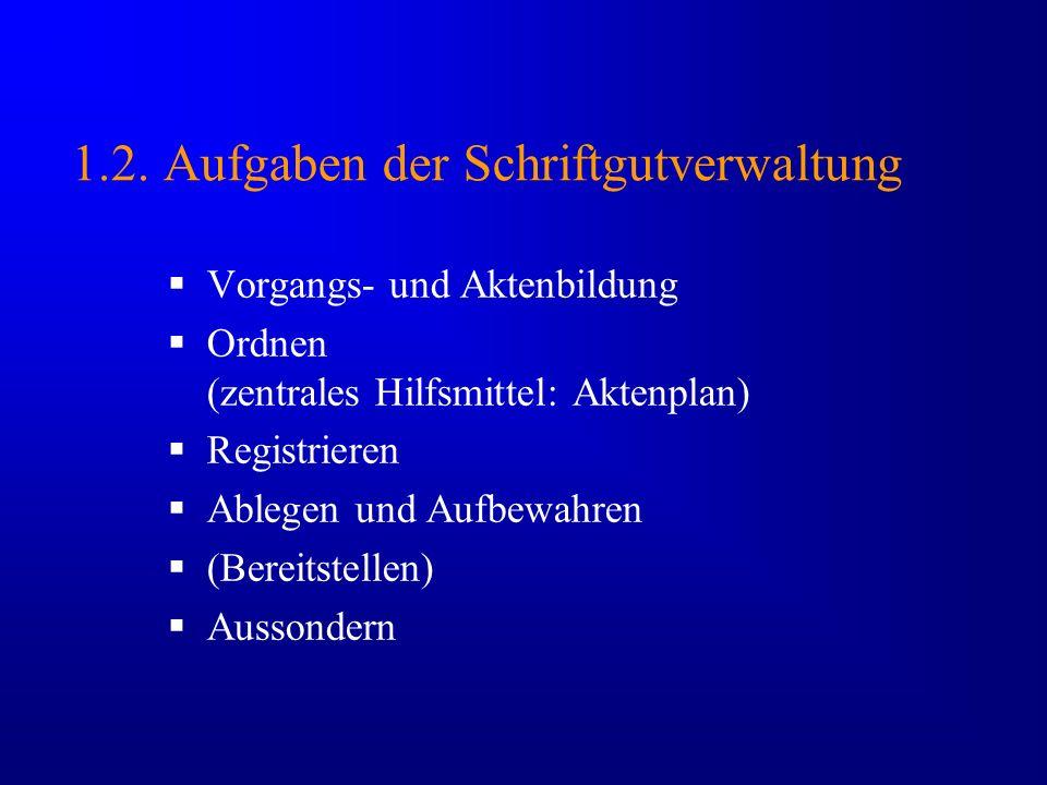 1.2. Aufgaben der Schriftgutverwaltung
