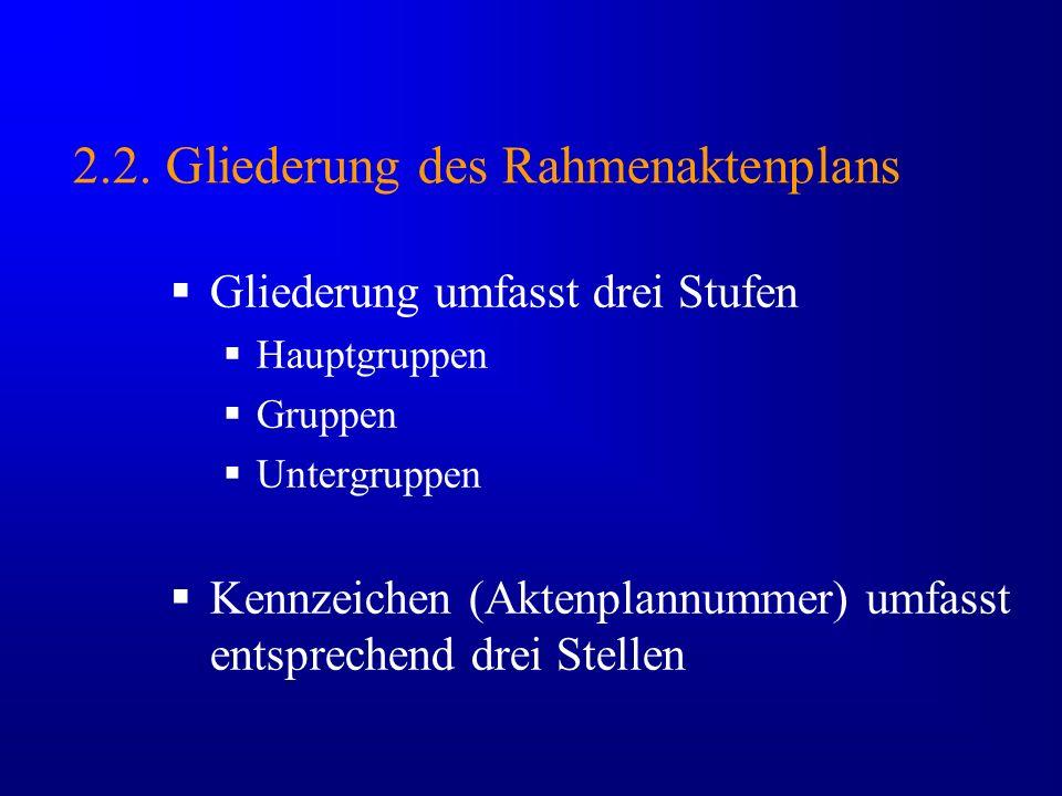 2.2. Gliederung des Rahmenaktenplans