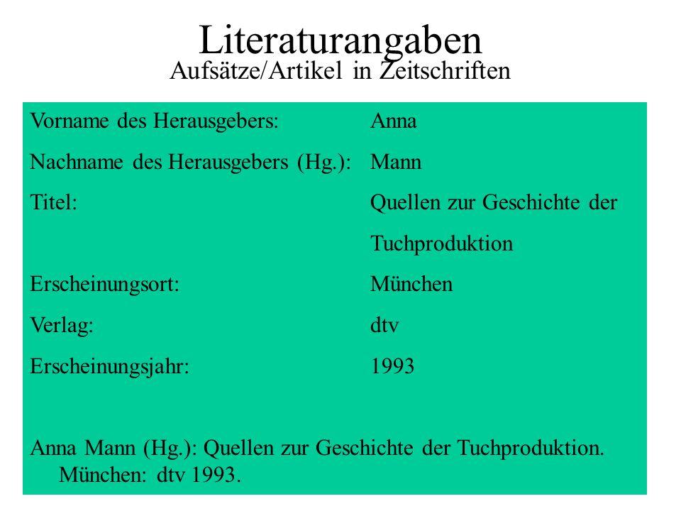 Literaturangaben Aufsätze/Artikel in Zeitschriften