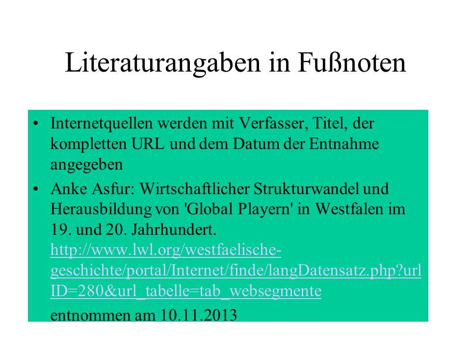 Literaturangaben in Fußnoten