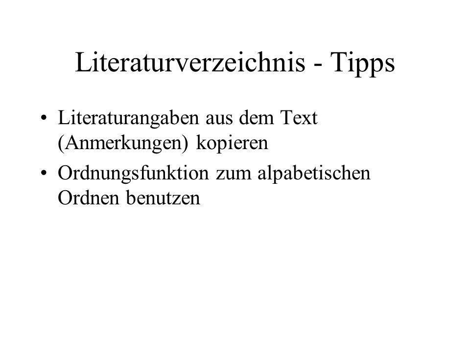 Literaturverzeichnis - Tipps