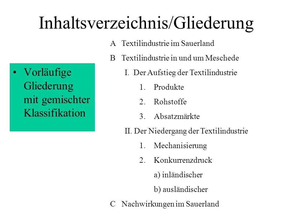 Inhaltsverzeichnis/Gliederung