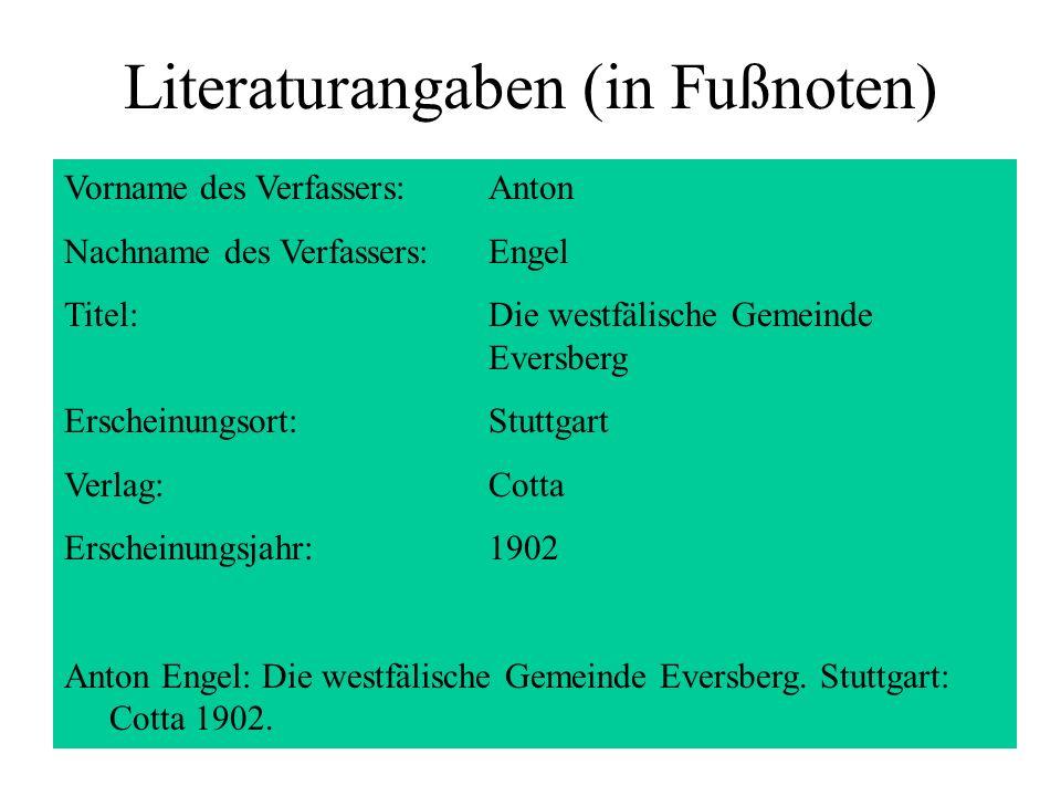 Literaturangaben (in Fußnoten)