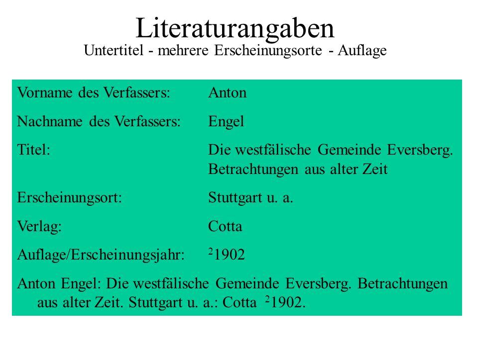 Literaturangaben Untertitel - mehrere Erscheinungsorte - Auflage