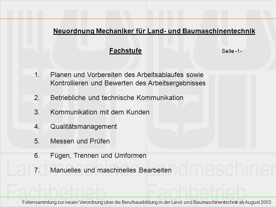 Neuordnung Mechaniker für Land- und Baumaschinentechnik