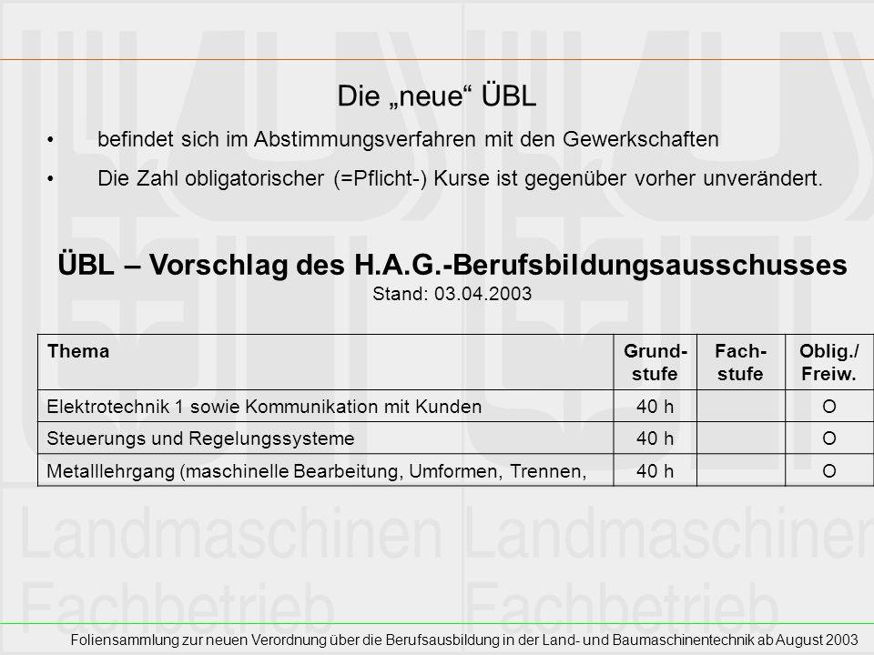 ÜBL – Vorschlag des H.A.G.-Berufsbildungsausschusses