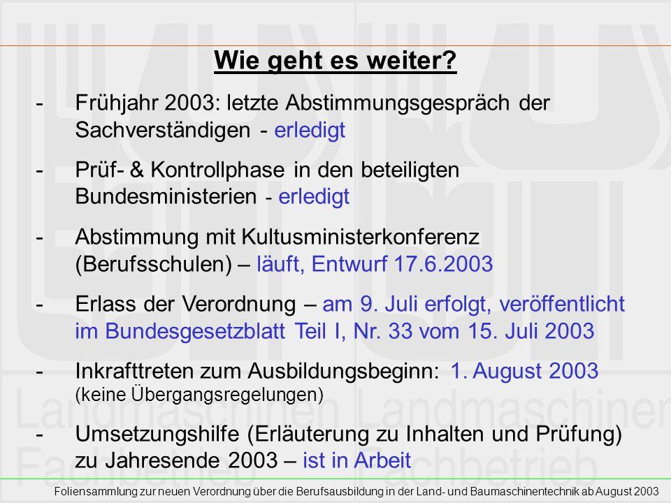 Wie geht es weiter Frühjahr 2003: letzte Abstimmungsgespräch der Sachverständigen - erledigt.