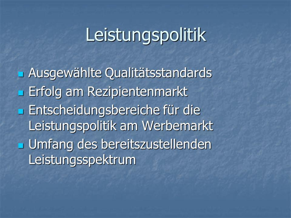 Leistungspolitik Ausgewählte Qualitätsstandards