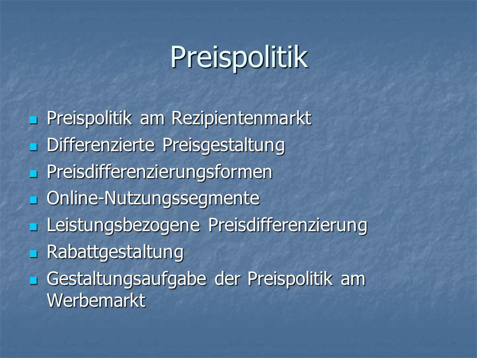 Preispolitik Preispolitik am Rezipientenmarkt