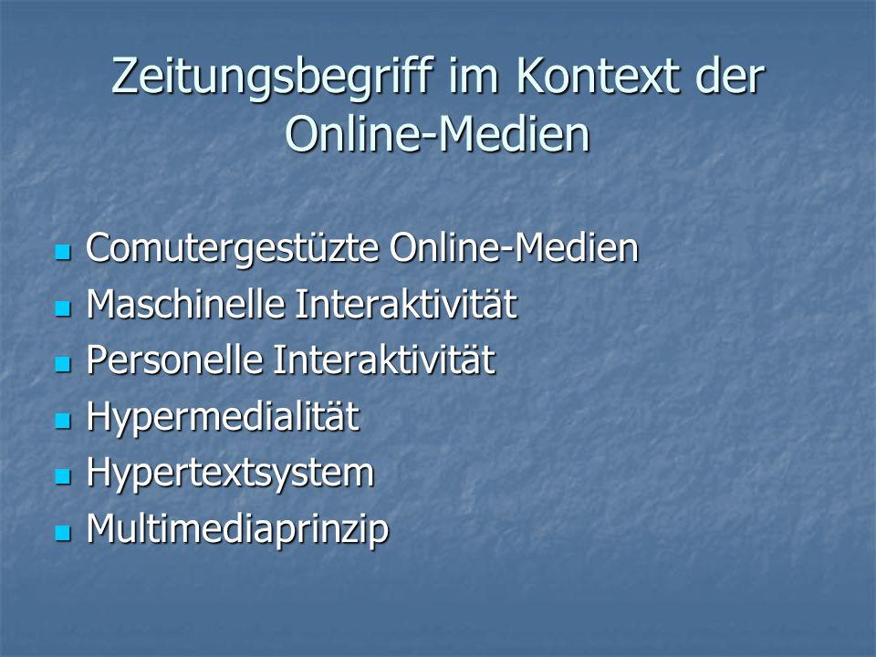 Zeitungsbegriff im Kontext der Online-Medien