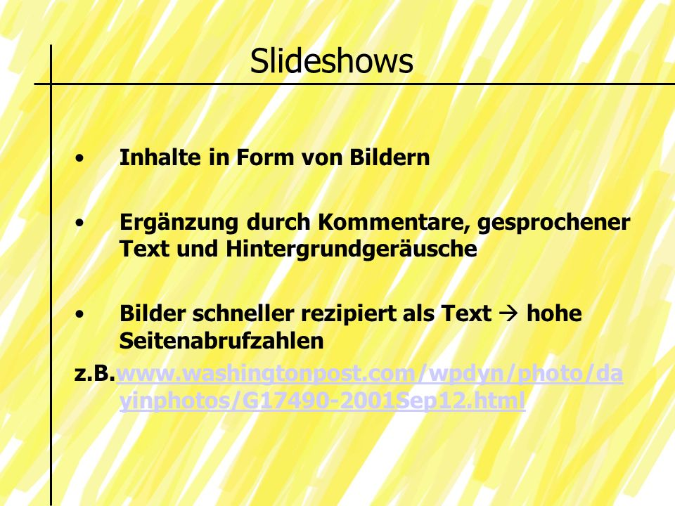 Slideshows Inhalte in Form von Bildern
