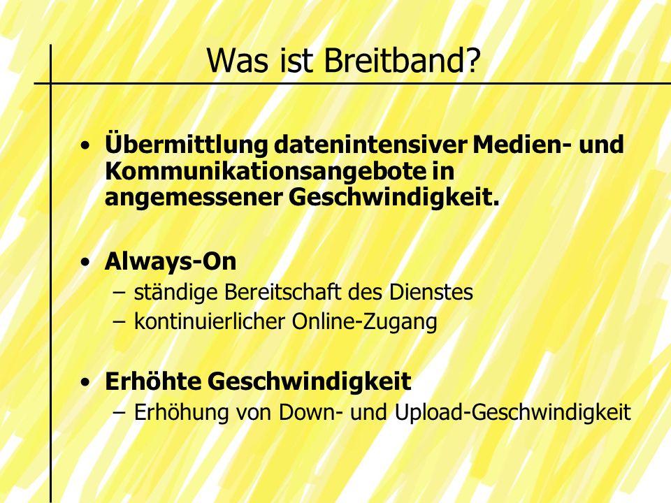 Was ist Breitband Übermittlung datenintensiver Medien- und Kommunikationsangebote in angemessener Geschwindigkeit.