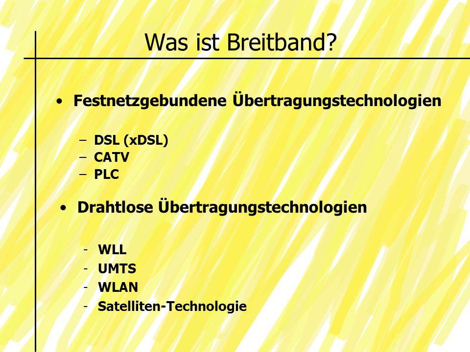 Was ist Breitband Festnetzgebundene Übertragungstechnologien