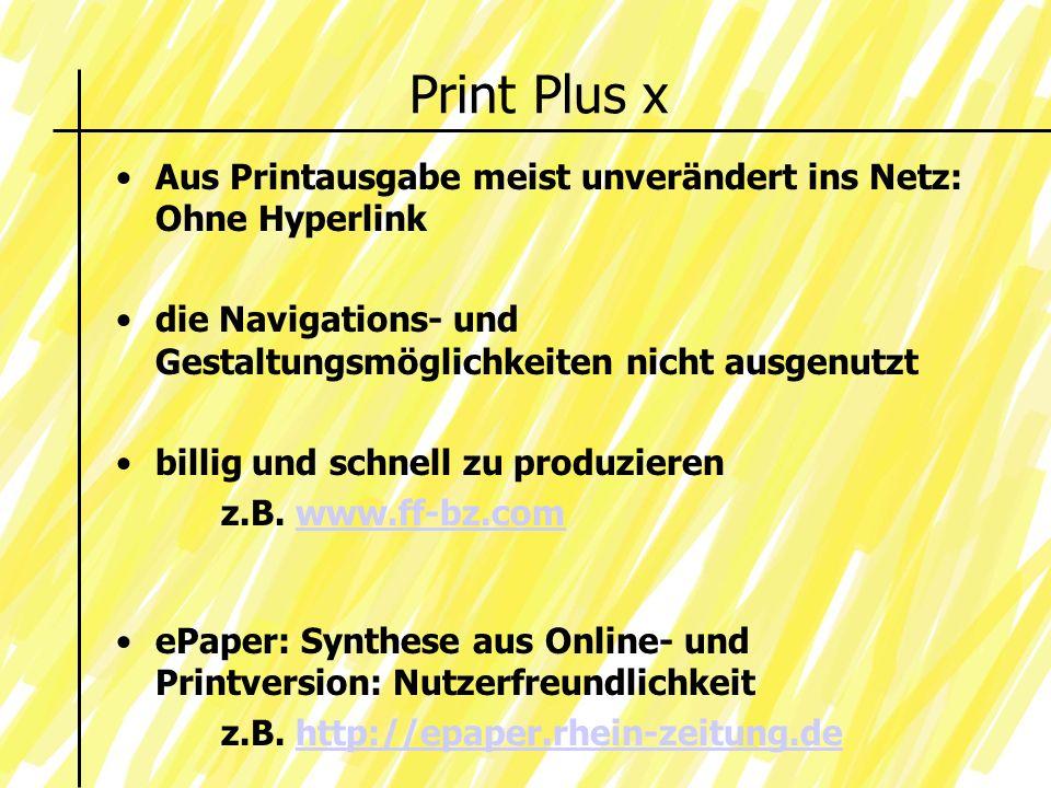 Print Plus x Aus Printausgabe meist unverändert ins Netz: Ohne Hyperlink. die Navigations- und Gestaltungsmöglichkeiten nicht ausgenutzt.