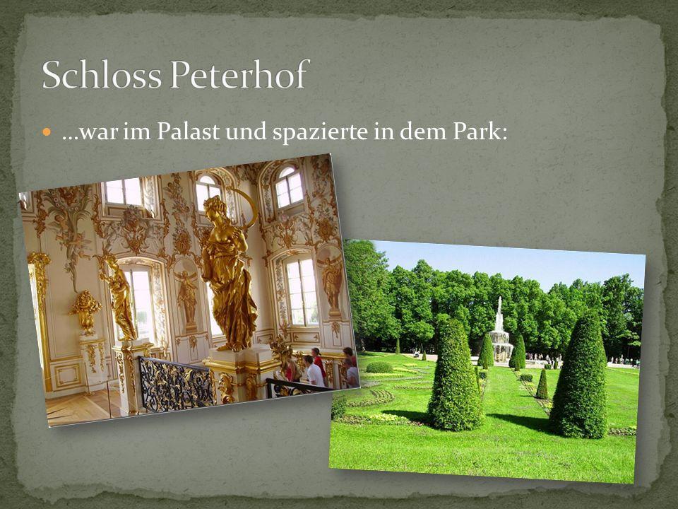 Schloss Peterhof …war im Palast und spazierte in dem Park: