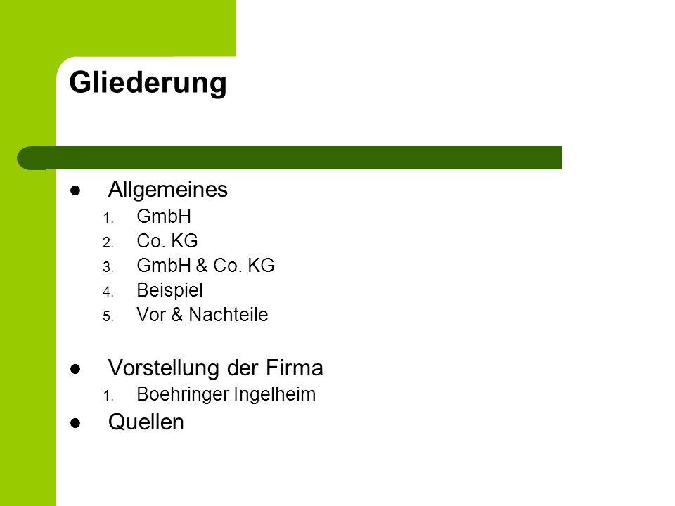 Gliederung Allgemeines Vorstellung der Firma Quellen GmbH Co. KG
