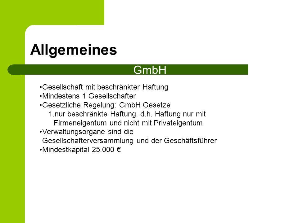 Allgemeines GmbH Gesellschaft mit beschränkter Haftung